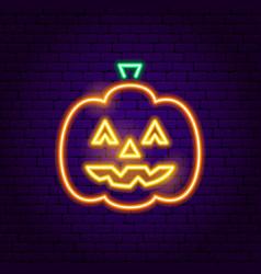 jack o lantern neon sign vector image