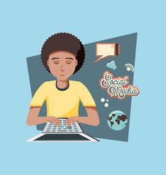 man with laptop social media icons vector image