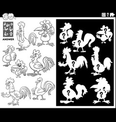 Matching shapes game with roosters coloring book vector
