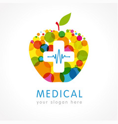 medical company apple plus colored logo vector image