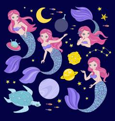 Mermaid constellation space princess vector