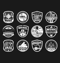 music school festival and karaoke club icons vector image