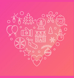 new year line icons in the shape of a heart vector image