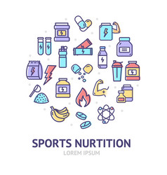 nutrition signs round design template thin line vector image