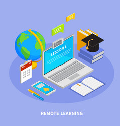 online education isometric concept vector image