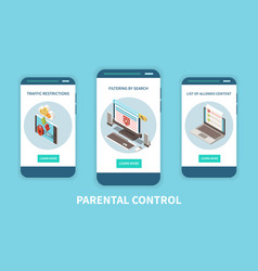 Parental control apps isometric set vector