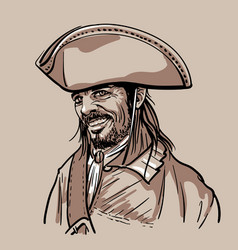 Pirate with hat portrait digital sketch hand vector