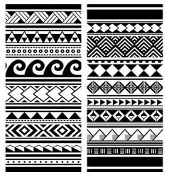 polynesian maori tattoo seamless patterns vector image