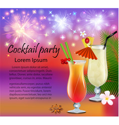 poster a cocktail party with glasses and vector image