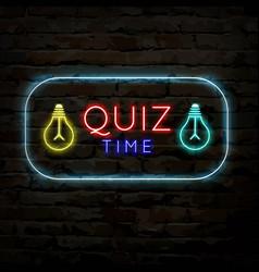 Quiz time neon logo symbol 3 vector