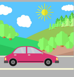 Red car on a road on a sunny day vector