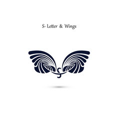 s letter sign and angel wings monogram wing logo vector image