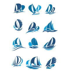 Sailboat yacht and sailing ship with wave icon vector