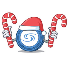 Santa with candy syscoin mascot cartoon style vector