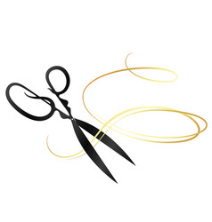 Scissors and golden curl hair vector