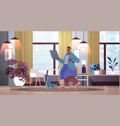 senior woman using laptop grandmother relaxing vector image