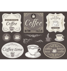 Set borders and cup of coffee vector image