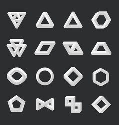 Set impossible shapes optical isolated on vector