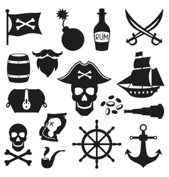 Set objects and elements on pirate theme vector