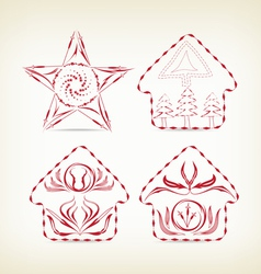 set of christmas doodle decorative for design vector image