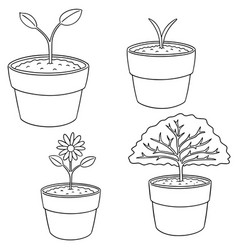 set of planting tree vector image