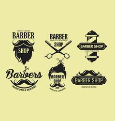 set vintage barber shop vector image