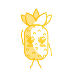 Silhouette kawaii cute tender pineapple fruit vector