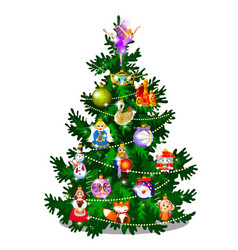 sketch with cute christmas tree new year gifts vector image
