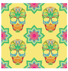 Skull and Lotus Pattern vector image