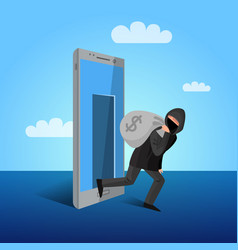 Smartphone hacking window allegoric flat poster vector