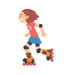 Smiling girl rollerblading kid doing sports vector