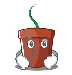 Smirking flower pot character cartoon vector