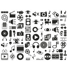 sound video icons on white vector image