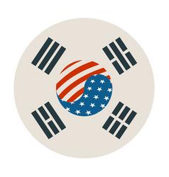 South korea and usa flags vector