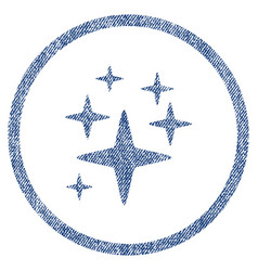 Sparkle stars rounded fabric textured icon vector