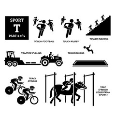 sport games alphabet t icons pictograph touch vector image