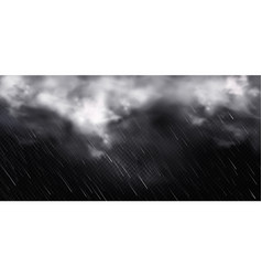 storm weather with white clouds and rain vector image