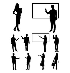 Teacher businessperson presentation silhouette vector