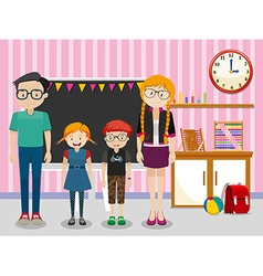 Teachers and students in the classroom vector image