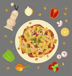 Trendy concept for pasta vector