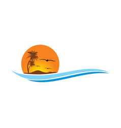 Tropic beach sunset travel logo vector