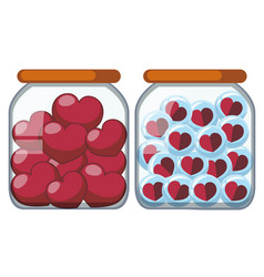 Two jars full of heart shapes vector