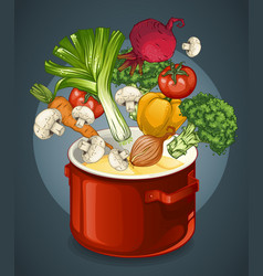 Vegetable soup concept vector