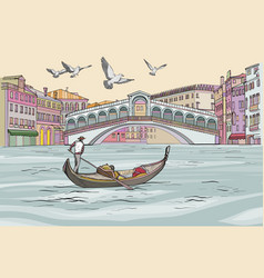 venecia cityscape view gondola in grand canal vector image