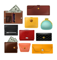 wallet leather purse and business billfold vector image