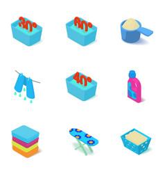 Washable icons set isometric style vector