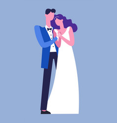 wedding couple cuddling tender man and woman vector image