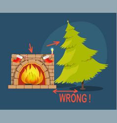 Wrong christmas tree fireplace vector