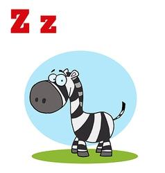 Zebra cartoon with letter vector