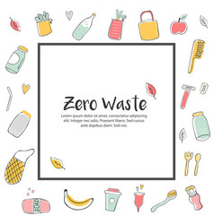 Zero waste concept design with hand drawn elements vector